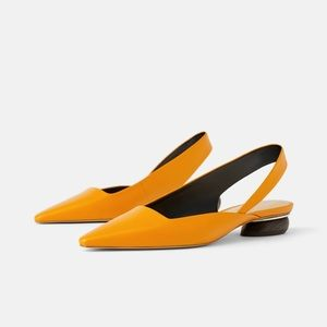 Genuine leather yellow pointed toe sling backs